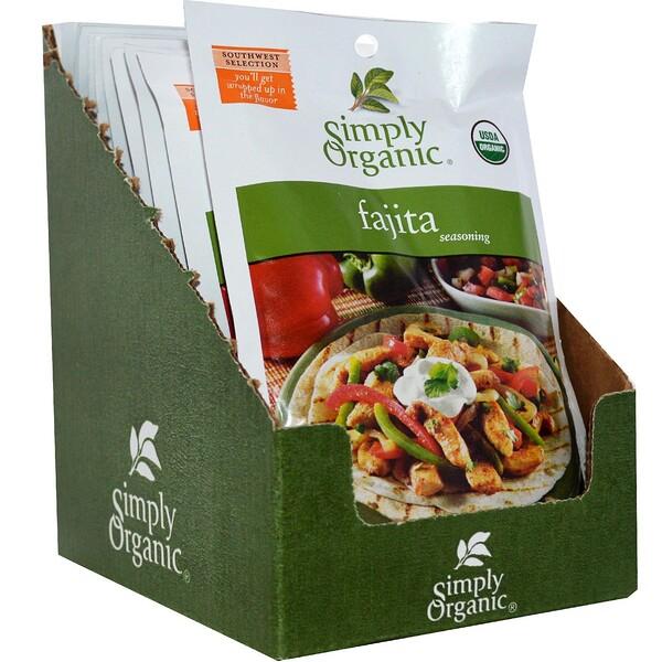 Simply Organic, ファヒータ シーズニング、 12 パケット、 各1.00 oz (28 g) (Discontinued Item)