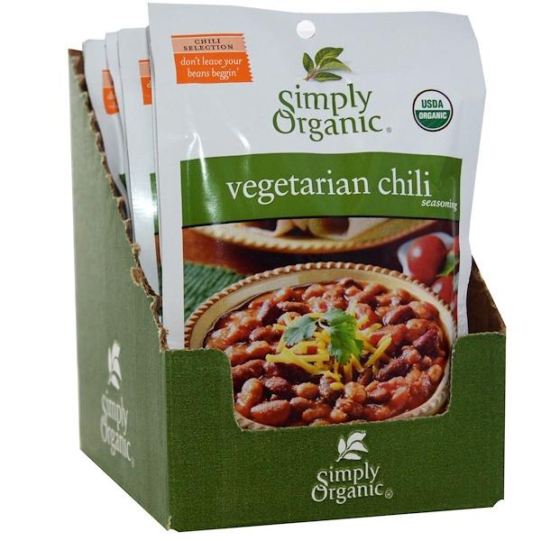 Simply Organic, Vegetarian Chili Seasoning, 12 Packets, 1 oz (28 g) Each (Discontinued Item)