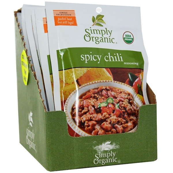 Simply Organic, Spicy Chili Seasoning, 12 Packets, 1.00 oz (28 g) Each (Discontinued Item)
