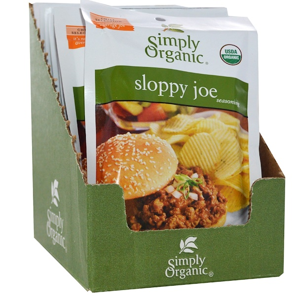 Simply Organic, Sloppy Joe Seasoning, 12 Packets, 1.41 oz (40 g) Each (Discontinued Item)