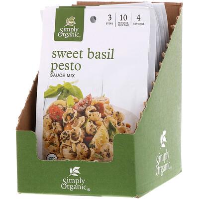 Simply Organic Смесь для приготовления соуса Сладкий Базилик Песто 12 пакетиков, 0.53 унции (15 г) каждый