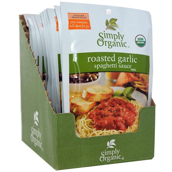 Simply Organic, Смесь Чесночного Соуса для Спагетти 12 пакетиков, 1.13 унции (32 г) каждый (Discontinued Item)