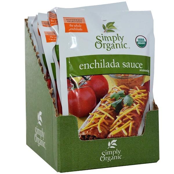Simply Organic, Смесь для соуса энчилада, 12 пакетиков, по 1,41 унции (40 г) каждый (Discontinued Item)