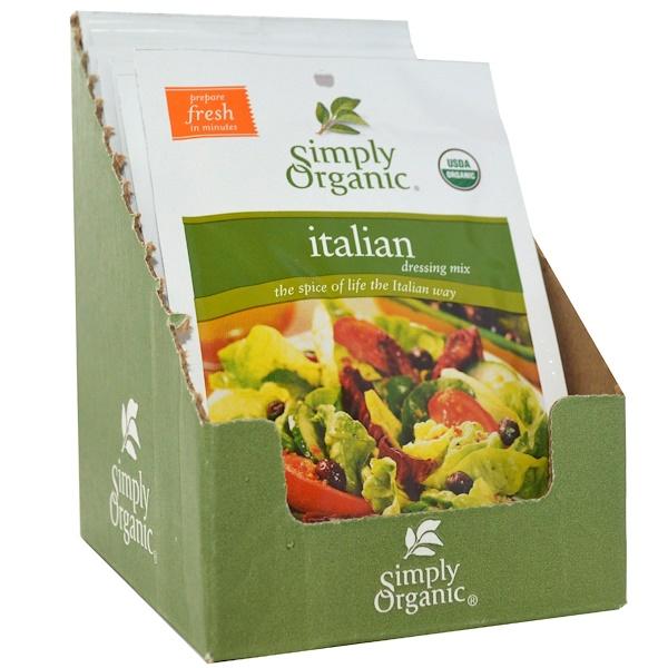 Simply Organic, Итальянские приправы, 12 пакетиков по 0,70 унции (20 г) каждый (Discontinued Item)