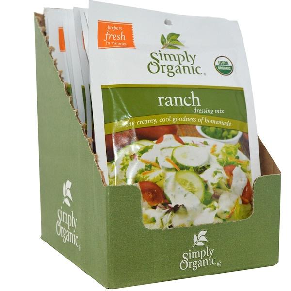 Simply Organic, Смесь соуса ранчо, 12 пакетов, по 1 унция (28 г) каждый (Discontinued Item)