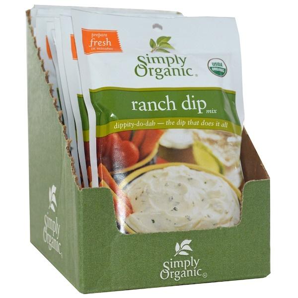 Simply Organic, Смесь ранчо для обмакивания, 12 пакетов, по 1,50 унции (43 г) каждый (Discontinued Item)