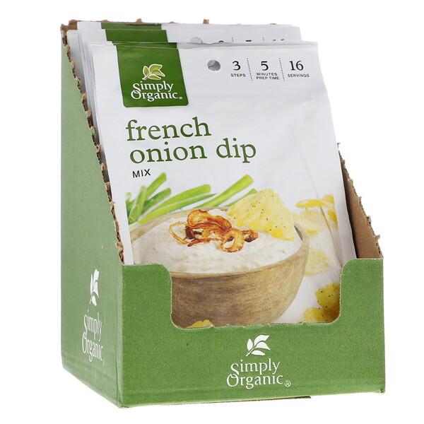 Simply Organic, خليط تغميسة البصل الفرنسية، 12 عبوة، 1.10 أونصة (31 غ) لكل عبوة