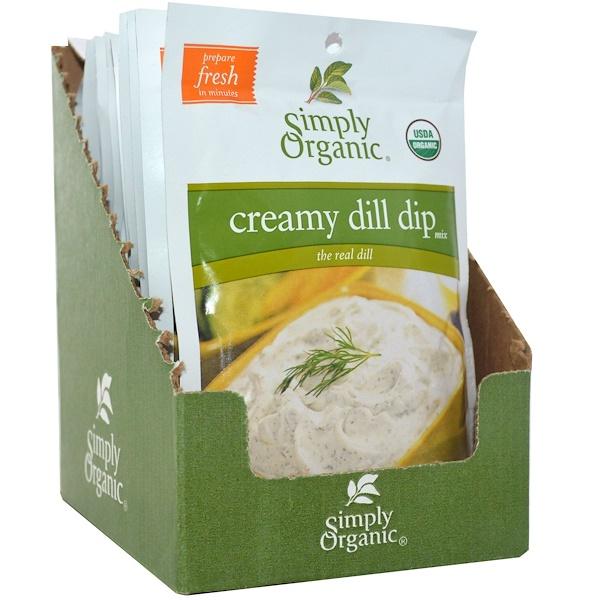 Simply Organic, Сливочная смесь укропа для обмакивания, 12 пакетов, по 0,7 унции (20 г) каждый (Discontinued Item)