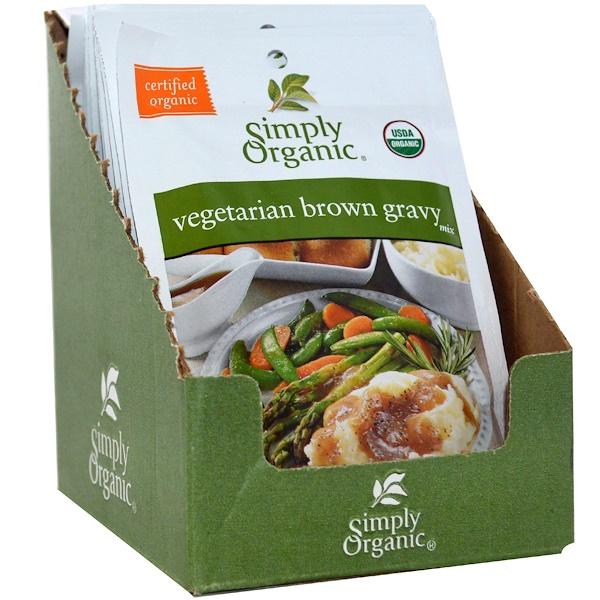 Simply Organic, Вегетарианская смесь для коричневой подливки, 12 пакетов, 1 унция (28 г) (Discontinued Item)