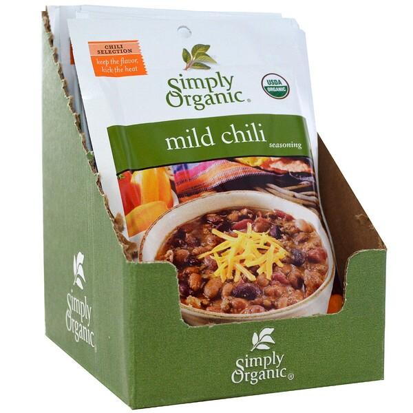 Simply Organic, Приправа из неострого чили, 12 пакетиков, по 1 унции (28 г) каждый (Discontinued Item)