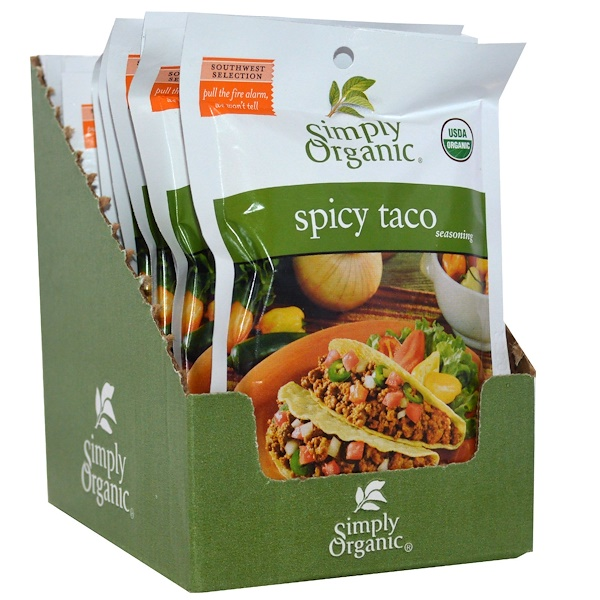 Simply Organic, Spicy Taco Seasoning, 12 Packets, 1.13 oz (32 g) Each (Discontinued Item)