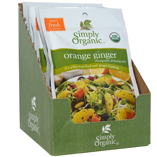 Simply Organic, Orange Ginger Vinaigrette Dressing Mix, 12 Packets, 0.71 oz (20 g) Each (Discontinued Item)