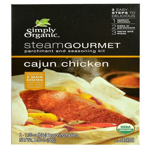 Simply Organic, Steam Gourmet, Parchment and Seasoning Kit, Cajun Chicken, 2 Packets, 1.00 oz (28 g) Each (Discontinued Item)