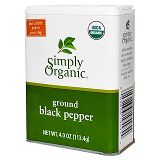 Simply Organic, Ground Black Pepper, 4 oz (113.4 g)