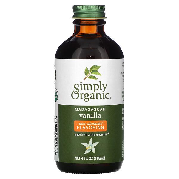 Simply Organic, мадагаскарська ваніль, ароматизатор без спирту, вирощена на фермі, 118мл (4рідк. унції)