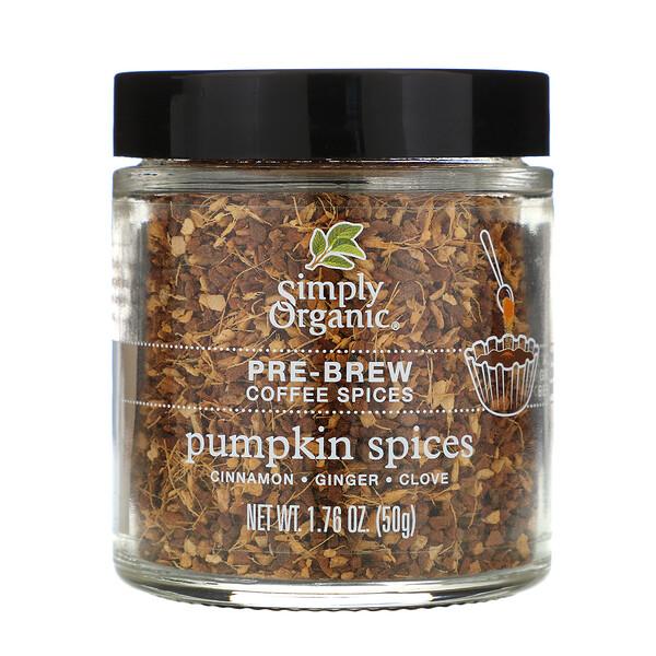 Simply Organic, Pre-Brew Coffee Spice, Pumpkin Spices, 1.76 oz (50 g) (Discontinued Item)
