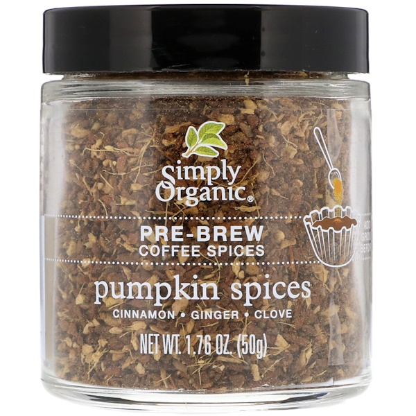Simply Organic, Pre-Brew Coffee Spice, Pumpkin Spices, 1.76 oz (50 g)