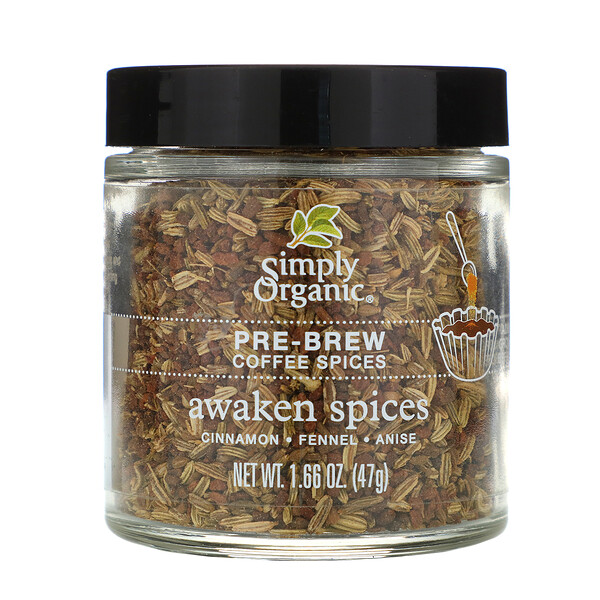 Simply Organic, Pre-Brew Coffee Spices, Awaken Spices, 1.66 oz (47 g) (Discontinued Item)