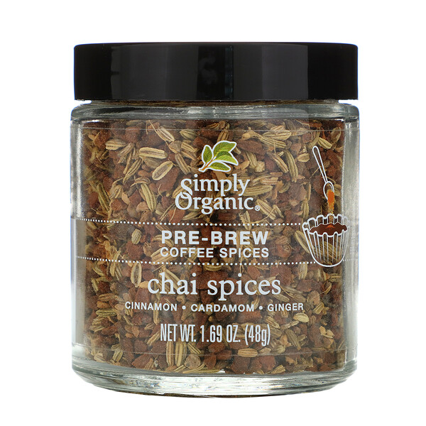Simply Organic, Pre-Brew Coffee Spices, Chai Spices, 1.69 oz (48 g)