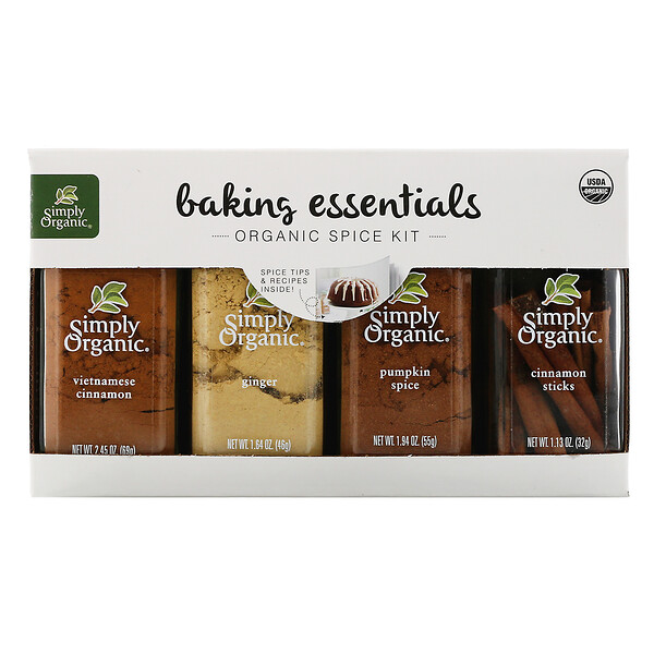 Baking Essentials, Organic Spice Kit, Variety Pack, 4 Spices