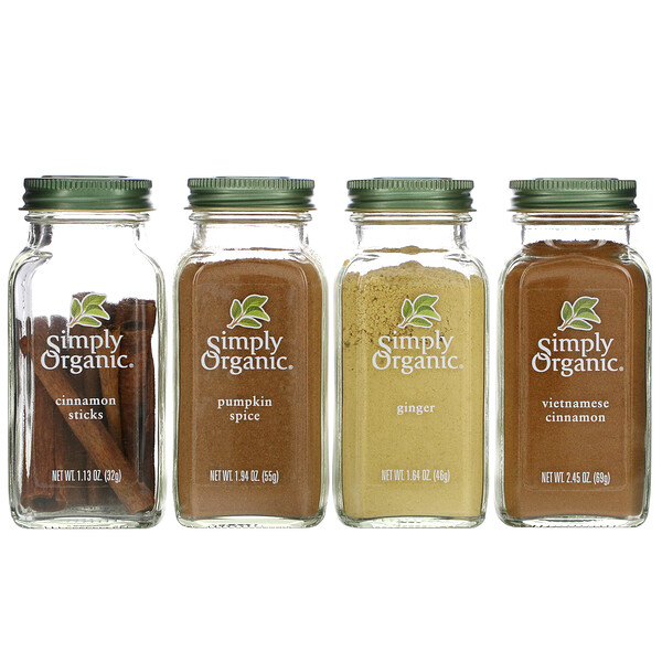 Simply Organic, أساسيات الخبز، طقم التوابل العضوي، حزمة متنوعة، 4 بهارات