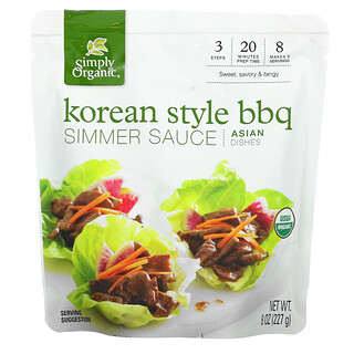 Simply Organic, Asian Dishes, Korean Style BBQ Simmer Sauce, 8 oz (227 g)