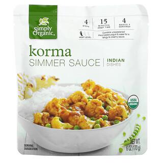 Simply Organic, Korma 咖喱炖酱,印度菜,6 盎司(170 克)