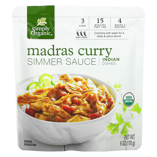 Simply Organic, Madras Curry Simmer Sauce, Indian Dishes, 6 oz (170 g)