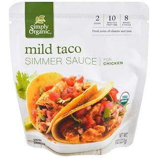 Simply Organic, Organic Simmer Sauce, Mild Taco, For Chicken, 8 oz (227 g)