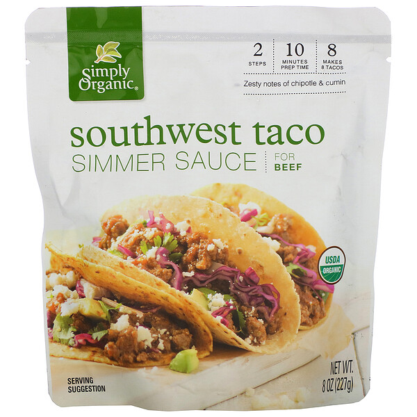Organic Simmer Sauce, Southwest Taco, For Beef, 8 oz (227 g)
