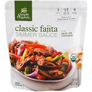 Simply Organic, Organic Simmer Sauce, Classic Fajita, For Beef or Chicken, 8 oz (227 g)