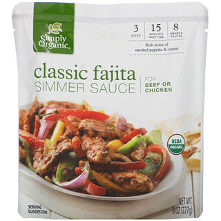 Simply Organic, Organic Simmer Sauce, Classic Fajita, For Beef or Chicken, 8 oz (227 g)