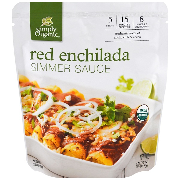 Simply Organic, Organic Simmer Sauce, Red Enchilada, 8 oz (227 g) (Discontinued Item)