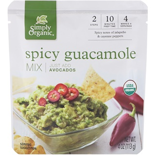 Simply Organic, Organic Spicy Guacamole Mix, 4 oz (113 g)