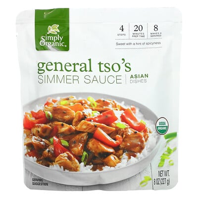 Simply Organic General Tso's Simmer Sauce, Asian Dishes, 8 oz (227 g)