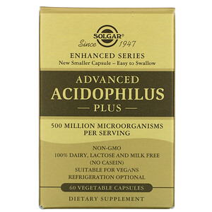 Solgar, Advanced Acidophilus Plus,60 粒素食膠囊