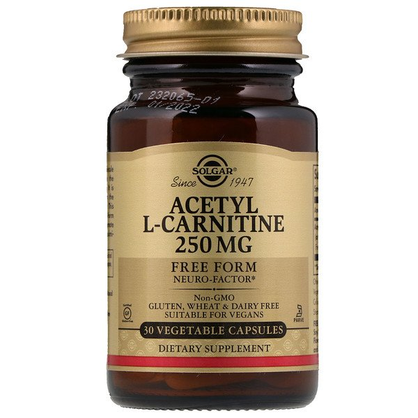 Solgar, Acetyl-L-Carnitine, 250 mg, 30 Vegetable Capsules