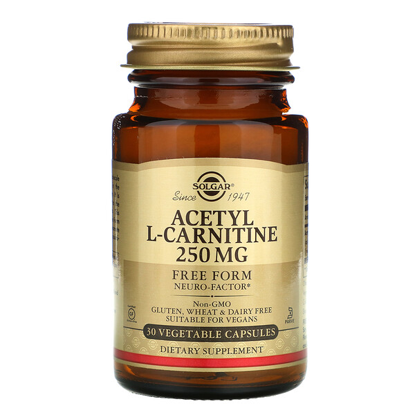 Acetyl-L-Carnitine, 250 mg, 30 Vegetable Capsules