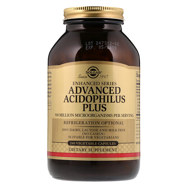 Solgar, Advanced Acidophilus Plus, 240 Vegetable Capsules