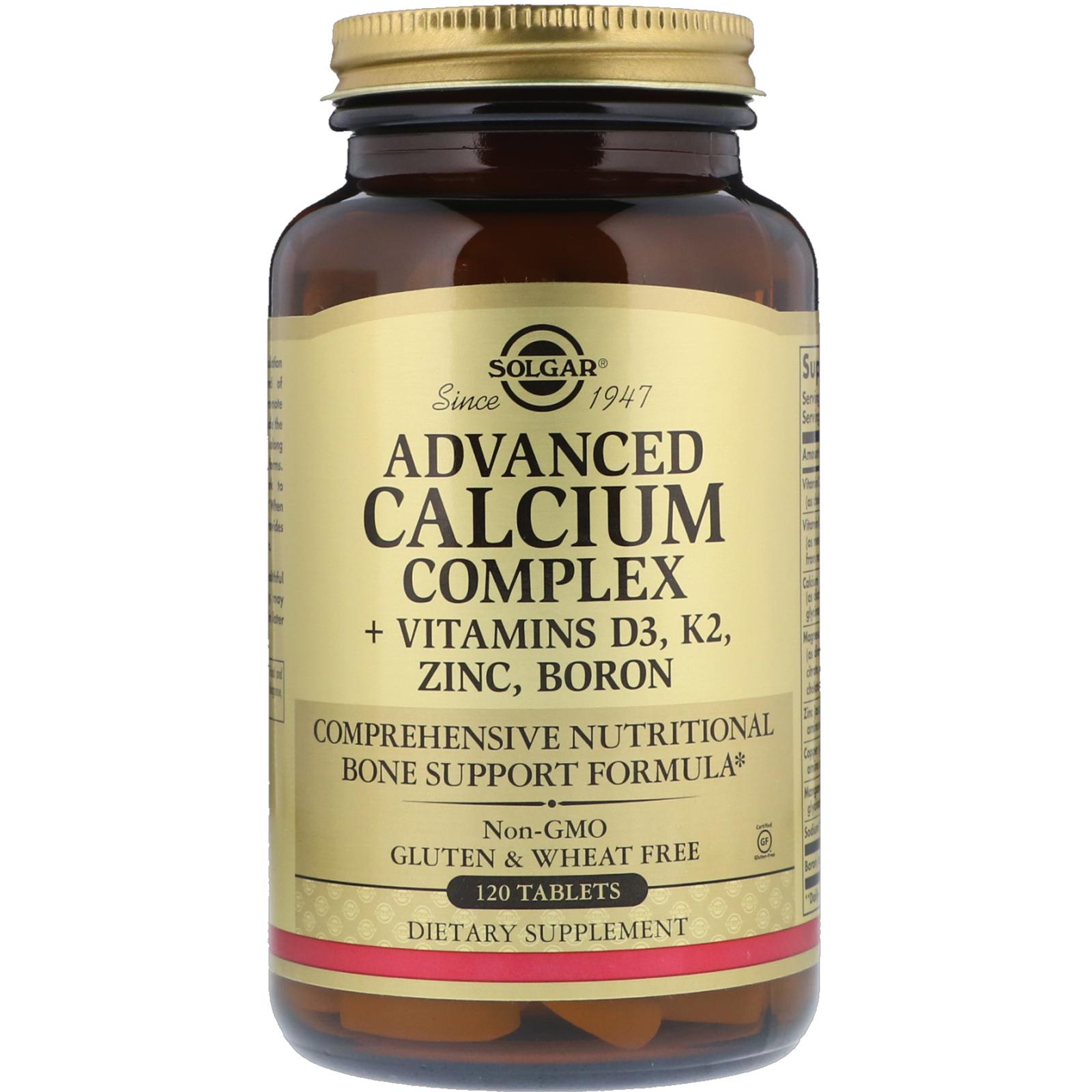 Solgar Advanced Calcium Complex Vitamins D3 K2 Zinc Boron 120