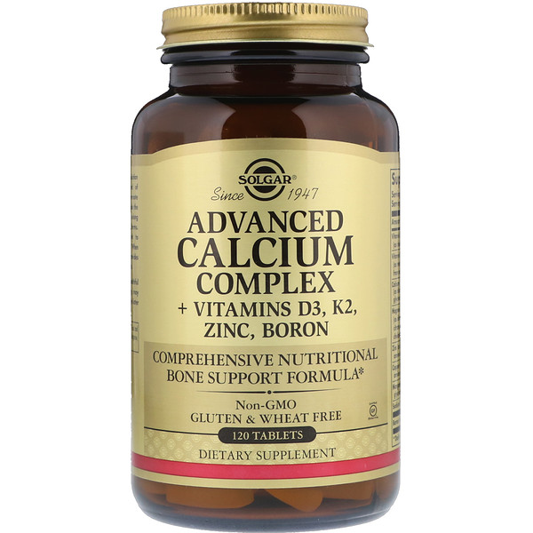 Advanced Calcium Complex + Vitamins D3, K2, Zinc, Boron, 120 Tablets