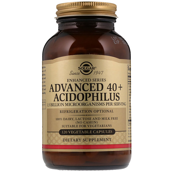 Solgar, Advanced 40+ Acidophilus, 120 Vegetable Capsules