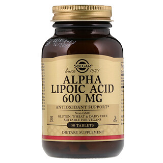 Solgar, Acido Alfa Lipoico, 600 mg, 50 Tabletas
