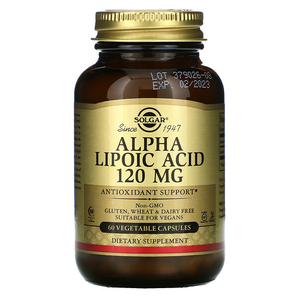 Alpha Lipoic Acid, 120 mg, 60 Vegetable Capsules