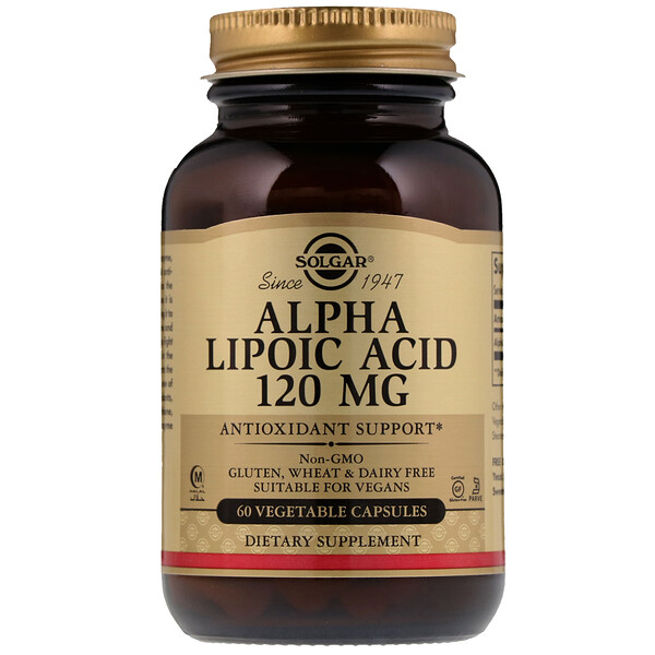 Solgar, Alpha Lipoic Acid, 120 mg, 60 Vegetable Capsules