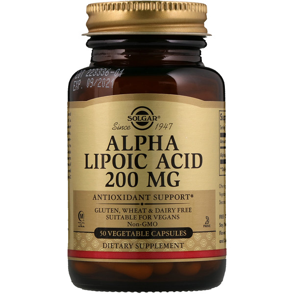 Solgar, Alpha Lipoic Acid, 200 mg, 50 Vegetable Capsules
