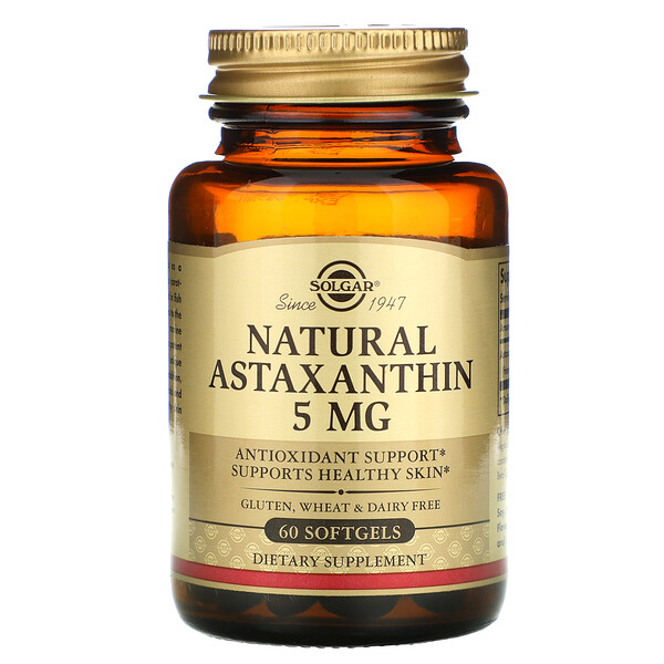 Natural Astaxanthin, 5 mg, 60 Softgels