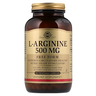 Solgar, L-Arginine, 500 mg, 250 Vegetable Capsules
