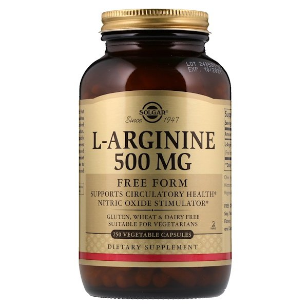 L-Arginine, Free Form, 500 mg, 250 Vegetable Capsules