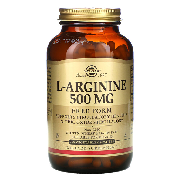 Solgar, L-Arginine, Free Form, 500 mg, 250 Vegetable Capsules